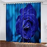 fgjorics Cortinas Opacas 3D, Cortinas De Fibra De Poliéster Impermeables Y A Prueba De Moho, Rosas Azules De Colores para Sala De Estar, Oficina Y Dormitorio (2 Paneles) 230 (H) X140 (W) Cmx2