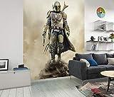 Komar DX4-086 Star Wars Mandalorian Hunter - Papel pintado para habitación infantil (fieltro, 200 x 280 cm, 4 tiras de 50 cm de ancho, Baby Yoda, The Child, color marrón, negro y blanco)