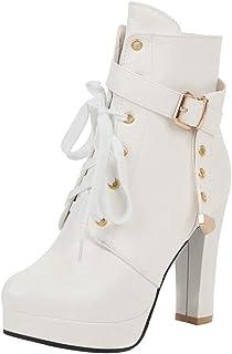 JOJONUNU Women Fashion High Heels Booties Martin Boots Zip