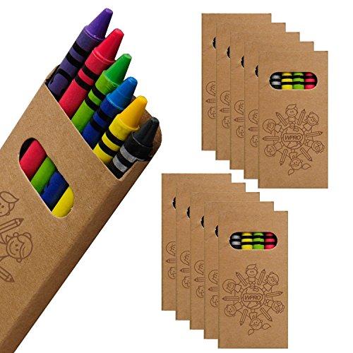 WPRO Kids Wachsmalstifte 10-er Set   Gastgeschenk Kindergeburtstag Mitgebsel   Crayons in 6 Farben   Stifte für Jungen & Mädchen braun