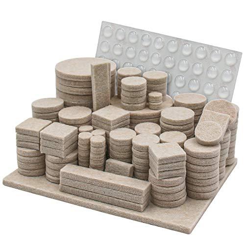Filzgleiter Selbstklebend Set 246 Stück- Premium Möbelgleiter Filz für Stühle mit 8 verschiedenen Größen - Filzunterlagen für Möbel Bodengleiter Filz Pads Kratzschutz