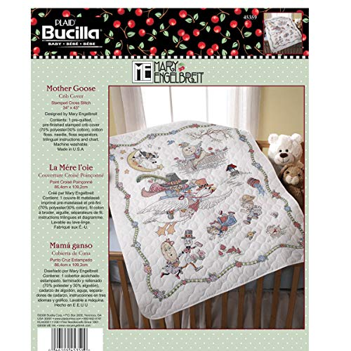 Bucilla Stamped Cross Stitch Crib Cover Kit, 34 by 43-Inch, 45359 Mary Engelbreit Mother Goose