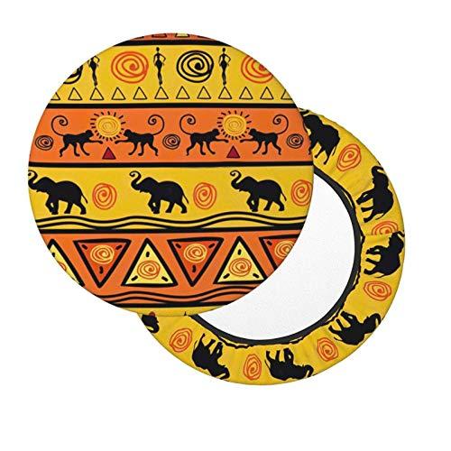 Funda de Asiento para Silla Impresión Africana Colorida Material Ploiéster Duradero Fundas Decorativas para sillas de Comedor 12-14in