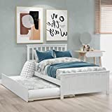 Wood Daybed with a Trundle, Trundle Daybed Twin Size, Standard Twin Bed Frame, No Box Spring Required (White Daybed with Trundle (A))