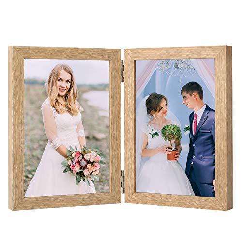 Holz Bilderrahmen Doppel Klappbar: 10x15cm Bilderrahmen Desktop Fotorahmen mit Glasfront Doppelrahmen Wand- und Tischbilderrahmen für Bilder (10 x 15 cm, Holz)
