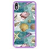 Hapdey Funda Morada para [ Bq Aquaris X5 ] diseño [ Patrón con Conchas, corales y Estrellas de mar ] Carcasa Silicona Flexible TPU