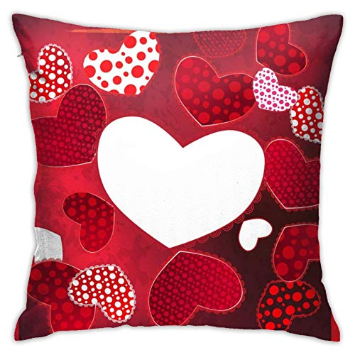 Funda de almohada cuadrada de poliéster suave para el día de San Valentín, con diseño de corazón, para sala de estar, sofá, cama, decoración de sala de juguetes o coche, 45,7 x 76,2 cm