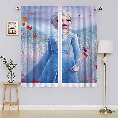 Frozen Princess - Cortinas opacas con aislamiento térmico para puerta corredera, cortinas aisladas para mantener el calor, cortinas para ventanas para dormitorio (55 x 72 pulgadas)