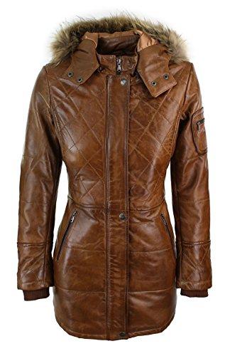 Aviatrix Chaqueta Parka de Cuero Real Ideal para Invierno con Capucha de Piel Real en Color marrón para Mujer