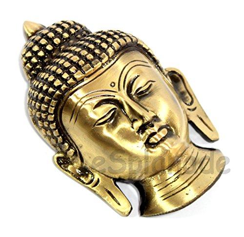 eSplanade Brass Buddha Face Showpiece   Buddha Head   Home Decor   Idol   Metal Statue   Figurine   Murti   Tibetan Buddhist Statue (Buddha Face Wall Hanging)