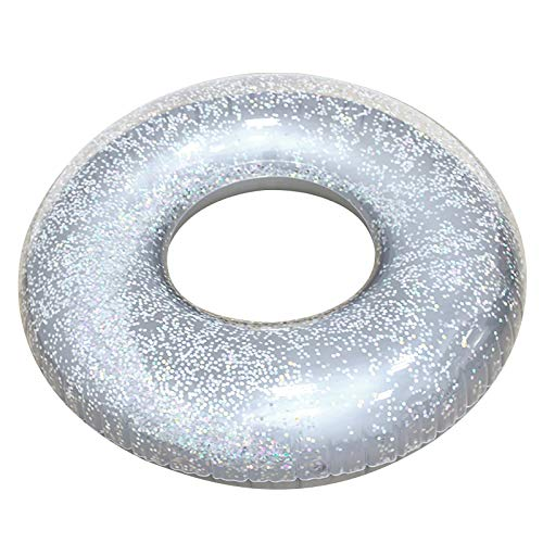 NRRN Anillos de natación inflables, PVC transparente gigante piscina flotador juguete fiesta playa adulto niño círculo inflable colchón de seguridad asistido anillo flotante