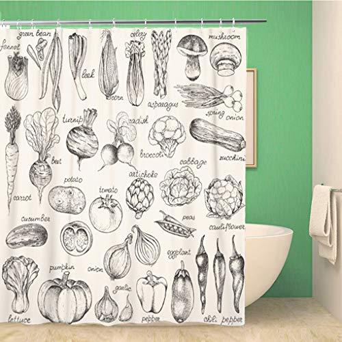 Awowee Decor Duschvorhang, grüne Lebensmittel-Kollektion von Gemüse, Vintage-Skizze, Pilz, 180 x 180 cm, Polyester, wasserdicht, Badvorhänge Set mit Haken für Badezimmer