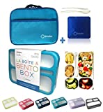 Bento-Box with Bag and Ice Pack Set. Lunch Boxes Snack Containers for Kids Boys Girls Adults. 6...