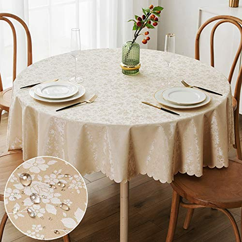 smiry Waterproof Vinyl Tablecloth, Round Heavy Duty Table Cloth, Wipeable Table Cover for Kitchen and Dining Room (Beige, 60' Round)