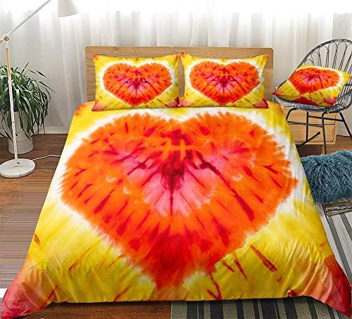 Prinbag Juego de Funda nórdica Tie Dye Juego de Cama de corazón Rojo Textiles para el hogar de Estilo romántico para niñas Niños Día de San Valentín 135x200cm