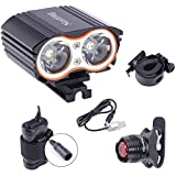 Nestling®Bike Light Set,USB Rechargeable Bike Light Front 2400LM Mountain Bike Lights, IP65 Waterproof