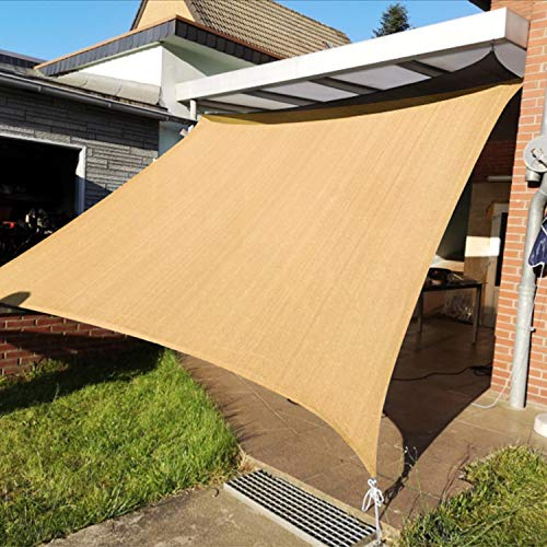KANAGAWA Sail Shade 10'x13' Sand Rectangle UV Block Canopy Awning Shelter Fabric Cloth Screen for Outdoor Patio Garden Backyard Activities