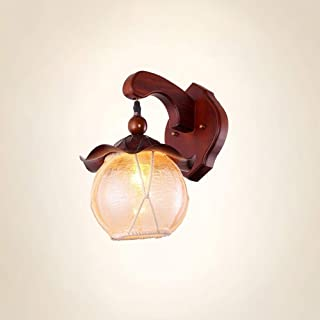 LMDH Rustic Wood Wall Sconce with Glass Shade, Vintage Industrial Bathroom Light Log Cabin Home Retro Wall Light Fixtures