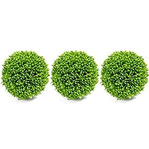 Silk Flower Arrangements Bibelot Artificial Green Plant Decorative Balls, Indoor Topiary Bowl Filler Greenery Balls, 4 Inch Diameter, Set of 3