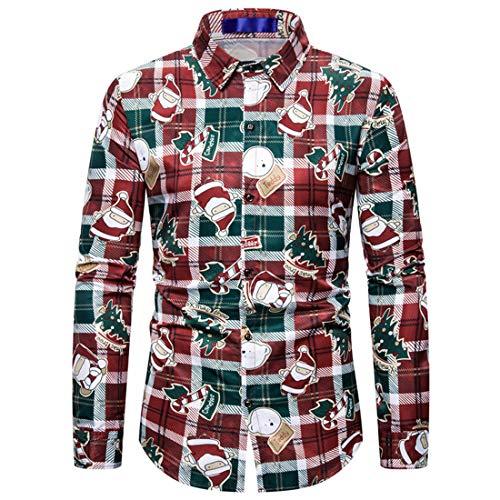 NLZQ Herren Revers Weihnachten Drucken Hemd Slim Fit Gemütlich Langarm Regular Fit Button Hemd Chic Party Freizeit top Frühling und Herbst top S