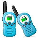 FLOUREON Walkie Talkies,Niños al Aire Libre Radio Bidireccional Walkie con 8 Canales Pantalla LCD de 3 Millas, 1 par Azul