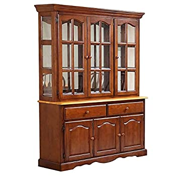 Sunset Trading Oak Selections Buffet and Hutch Medium Walnut with Light Finish top