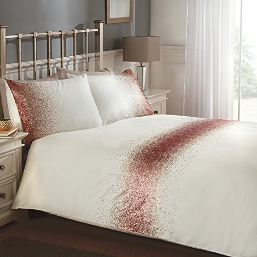 Rapport Shimmer Housse de Couette, Coton Polyester, Blush, King