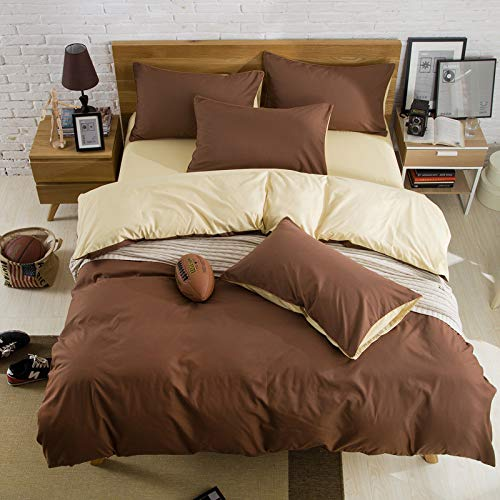 Larry eenkleurig beddengoed, cadeaupakket voor een vierkoppig gezin. 2,0 m Bett koffie