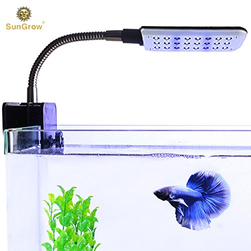 SunGrow Betta LED Light, 24 LED Bulbs, White and Blue Bulbs for Day and Night View, Flexible Metal Arm to Adjust Angle, Low Radiation, Energy-Saving Light
