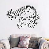 Applique Musical Girl Sticker Vinyle Mélomane Autocollant Mural Musique Ados Filles Décor de Chambre...