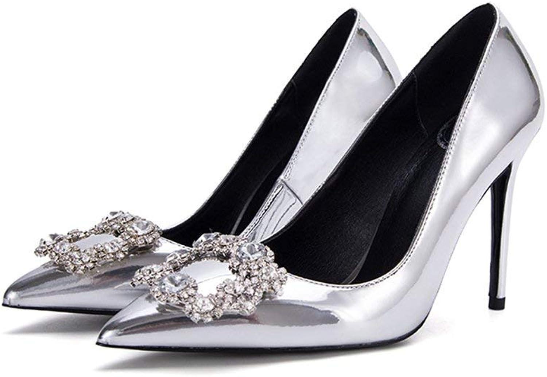 Schuhe 10cm Silber Bridal, High Heels, feine Ferse flachen flachen flachen Mund Satin Strass Square Schnalle Single (Farbe   Silber10m, Größe   34 EU)  33aa86