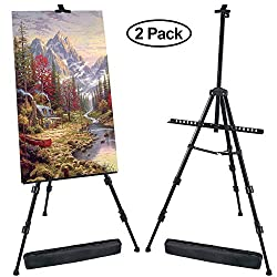 T-SIGN 72 Inches Tall Display Easel Stand, Aluminum Metal Tripod Art Easel Adjustable Height from 22-72 Inches, Extra Sturdy for Table-Top/Floor Painting, Drawing and Display with Bag, 2-Pack Black