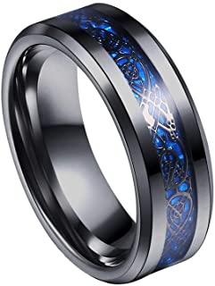 Yellow Chimes Dragon Celtic Stainless Steel Ring for Men (Black)(YCSSRG-883DRGN-BL)