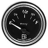 Equus 7361 2' Fuel Level Gauge, Chrome with Black Dial