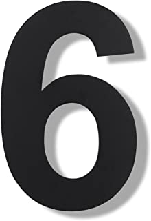 Mellewell Modern Floating House Numbers, Super Large 10 Inch, Black Finish, Stainless Steel 304, Number 6 Six