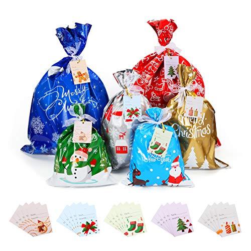 Awroutdoor Bolsas Grandes de Regalo Navidad, 30 pcs Bolsas de Regalo Navidad con Cintas y Etiquetas de Felicitación, Bolsa de Dulces Set para Navidad Decoracion,Suministros de Fiesta de Navidad
