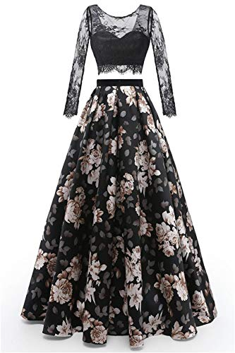 Chugu Evening Prom Dresses for Women Formal Gown with Pockets Long Sleeve 2 Piece Print Floral C84 Sleeveblack2 2