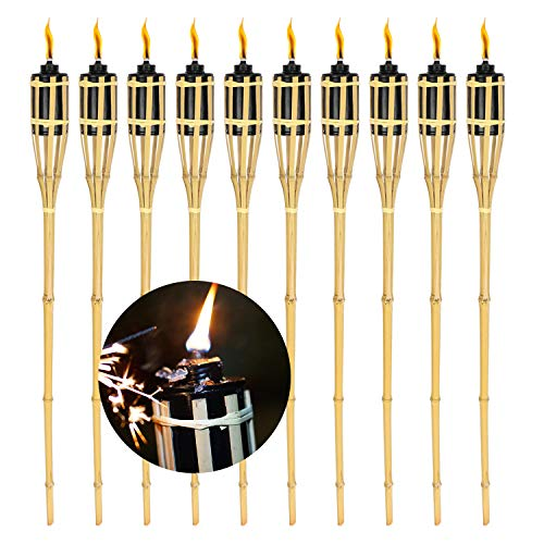 wolketon 10er Set Gartenfackeln mit Docht,Ölfackeln aus Bambus,stimmungsvolle Fackeln für außen,Für Outdoor-Partys,Höhe: 90 cm, natur