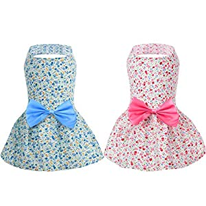 Geyoga 2 Pieces Small Dog Dress Pet Princess Bow-Knot Dress Pet Cute Clothing Apparels for Wedding Holiday New Year Party Small Dogs and Cats Costumes