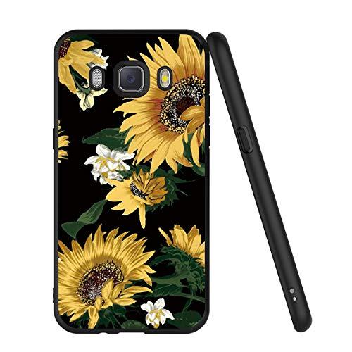 Yoedge Cover Samsung Galaxy J5 2016, Sottile Antiurto Custodia Nero Silicone TPU con Disegni Pattern Ultra Slim 360 Protective Bumper Case per Apple Samsung Galaxy J5 2016, Girasole