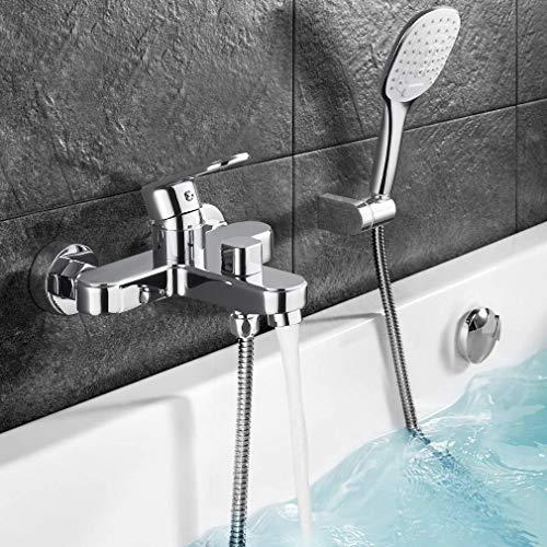 WOOHSE Badewannenarmatur mit Handbrause 3 Strahlarten und Brauseschlauch, Einhebelmischer Wannenarmatur, 2 Loch Wandmontage, Chrom, Hochwertige Verarbeitung für Badwannen Dusche