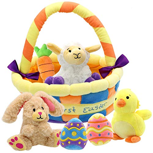 JOYIN 7 Pcs Easter Basket plushies playset Easter Basket Stuffers Toys for Easter Party Favors Plush Easter Basket for Baby, Toddler & Kids of All Ages
