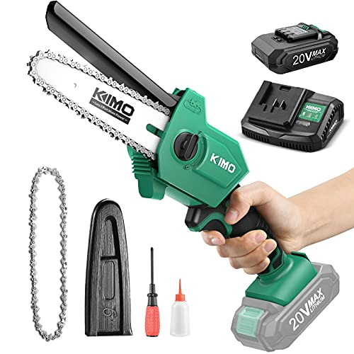 Mini Chainsaw 6 Inch, KIMO Cordless Mini Chainsaw Battery Powered w/ 2.0Ah Rechargeable Battery & Fast Charger, 3.1Lb One-Hand Use Electric Chainsaw, Handheld Chainsaw for Tree Trimming Wood Cutting