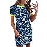 Vestido mujer con estampado leopardo azul