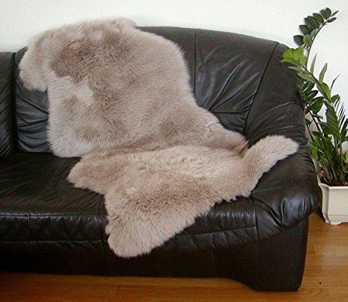 HEITMANN australische Doppel Lammfelle aus 1,5 Fellen Taupe gefärbt, vollwollig, Haarlänge ca. 70 mm, 30 Grad waschbar, ca. 140x68 cm