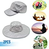 JRAM Anti-UV Sunscreen Cooling Air Conditioning Sun Hat,WIth Breathable Mesh And Adjustable Chin Strap,For Unisex Wide-Brimmed Hat C-2pcs