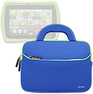 Evecase Leapfrog Epic/LeapPad Platinum/LeapPad Ultra XDI 7 inch Kids Tablet Ultra Portable Travel Carrying Neoprene Sleeve Case Bag with Handle & Accessory Pocket - Blue