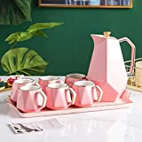 YYAI-HHJU Nordic Ceramic Water Set Cool Kettle Afternoon Tea Set Teapot Teacup Home Living Room Set With Tray Cup Set (Color:Pink)
