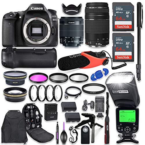 Canon EOS 80D DSLR Camera with EF-S 18-55mm f/3.5-5.6 is STM + EF 75-300mm f/4-5.6 III Lens with Advanced Professional Photo & Travel Bundle