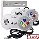 2 Pack New SNES Super Controller, iNNEXT Retro USB Super Classic Controller for PC Mac Linux Raspberry Pi 3 Sega Genesis...